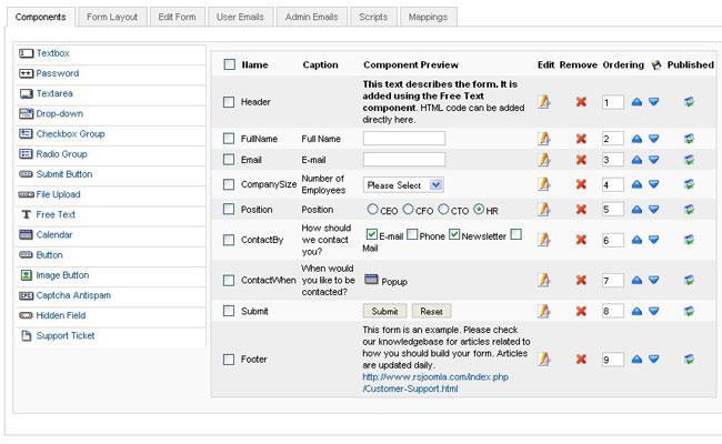 RSform! Pro v1.3.0 rev 33 - Каталог расширений Joomla - Site ...